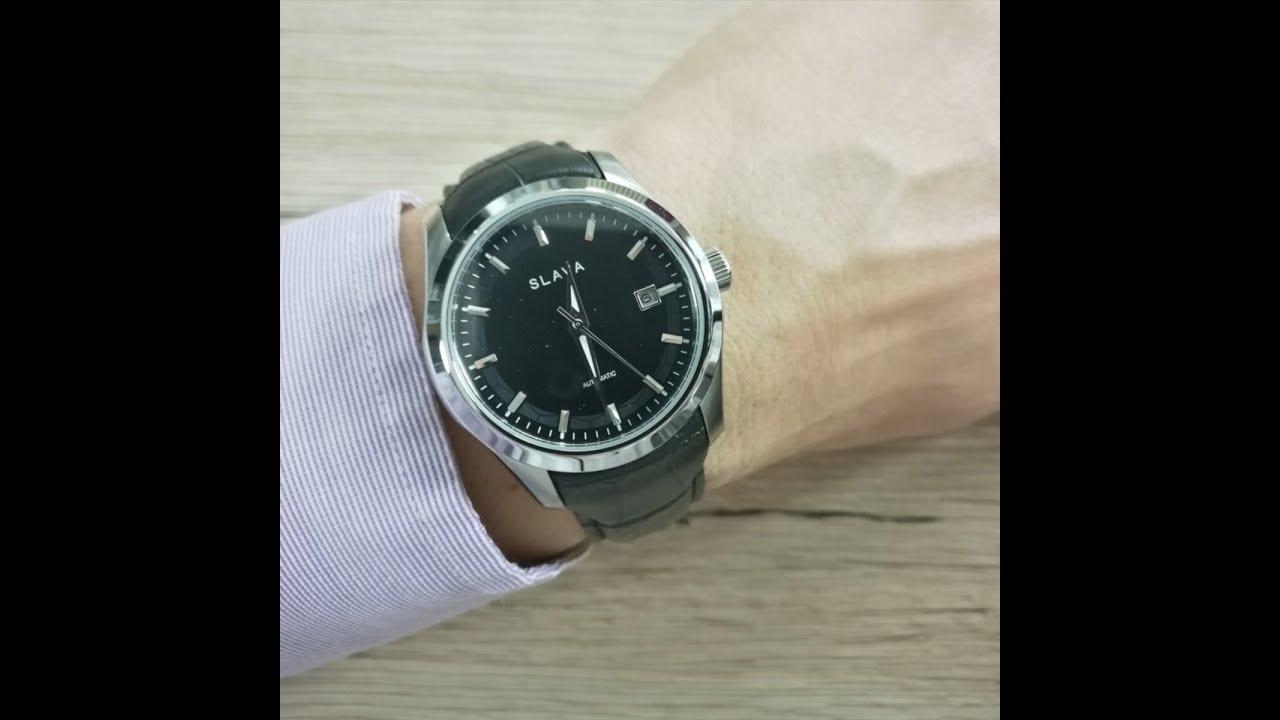 f66a05892e8 Pánské stříbrné automatické hodinky SLAVA se zapínáním na Pusher sponu  SLAVA 104