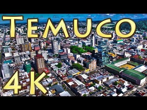 Vista aérea Centro de Temuco 4k capital IX Región de la araucanía  Sur de Chile Drone Chile