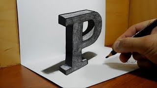 3D Trick Art on Paper, Letter P with Graphite Pencil