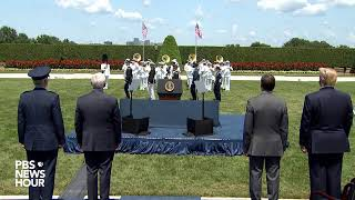 WATCH: Trump attends Defense Secretary Mark Esper's welcome ceremony