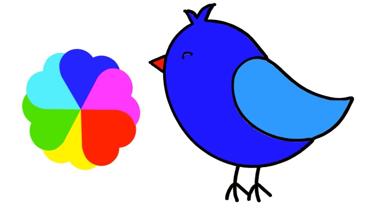 Cute Bird Drawing For Kids Easy Coloring Step By Step Twitter Bird Beautiful Bird Little Channel Youtube