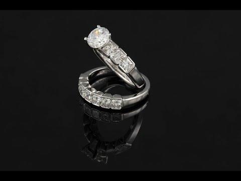 Channel Set Asscher Cut Princess Diamond Wedding Band Solitaire