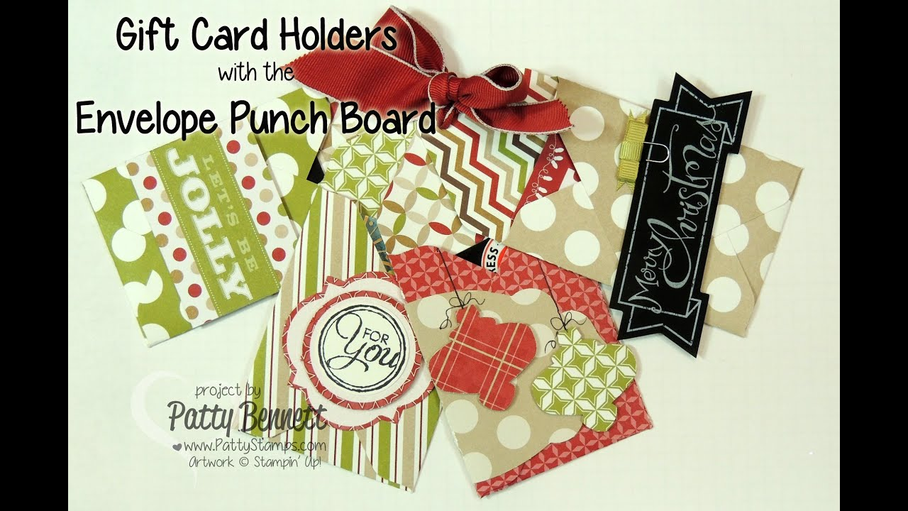 Stampin up envelope punch board gift card holders youtube negle