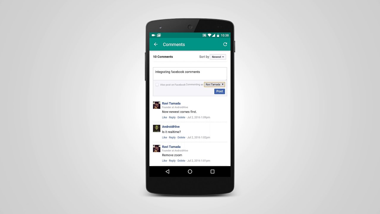 Android adding Facebook Comments Widget in App