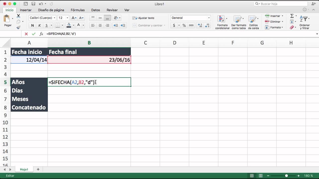 Como Calcular Años Meses Y Días Entre Dos Fechas En Excel Youtube