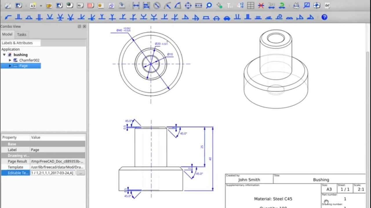 Freecad course – drawing dimensioning, example: bushing
