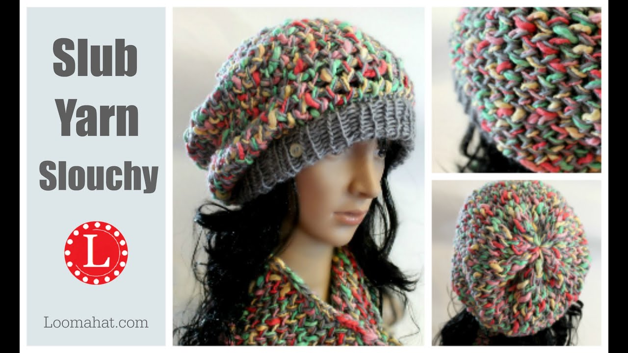 How to LOOM KNIT a Hat Slouchy Pattern Project ( Figure 8 Stitch ...