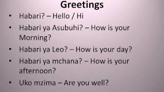 Learn Swahili Greetings