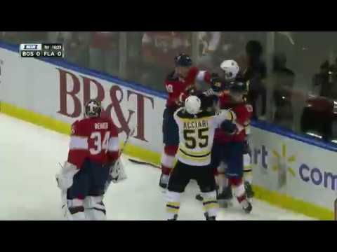 Tim Schaller Falls And Takes Out The Florida Net And Mike Matheson Does Not Like It