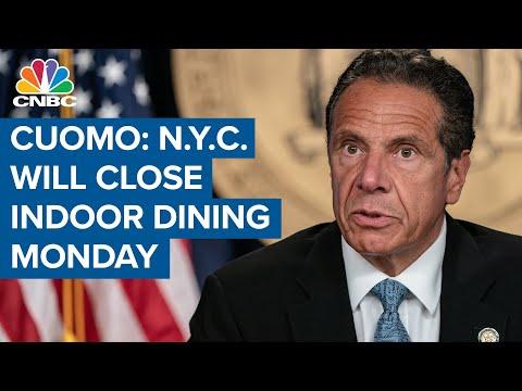Gov. Andrew Cuomo: New York City will close indoor dining starting Monday