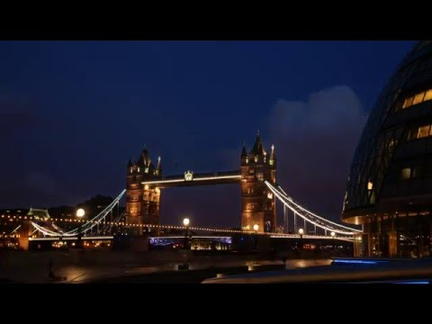 Sunset time lapse of Tower Bridge and City Hall