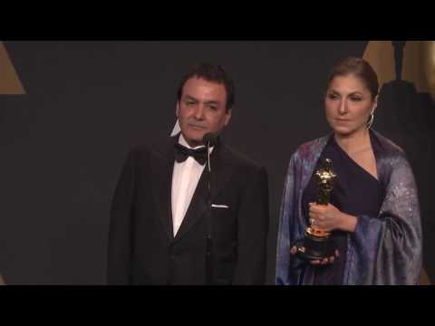 "Anousheh Ansari and Firouz Naderi Backstage Interview for Asghar Farhadi's ""The Salesman"" Best Forei"