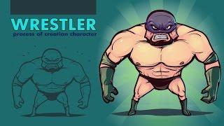 Wrestler. SpeedArt. Illustrator