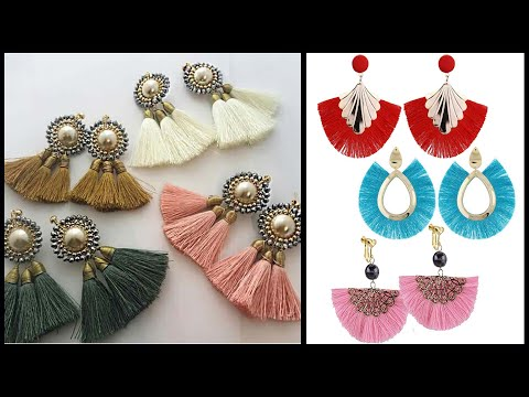 Silk Thread hanging Earrings latest designs || Silk Thread jewellery Making || Art Beauty Corner