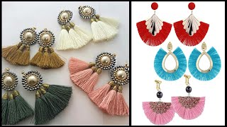 Silk Thread hanging Earrings latest designs || Silk Thread jewellery Making || Art Beauty Corner