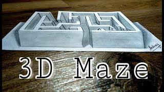 Drawing a 3D Maze - Optical illusion - 3D Trick Art On Paper - Art Maker Akshay