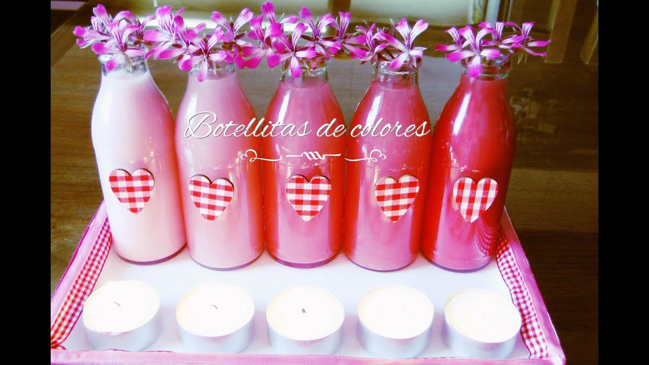 Arreglo floral centro de mesa con botellas de colores - Botellas con velas ...