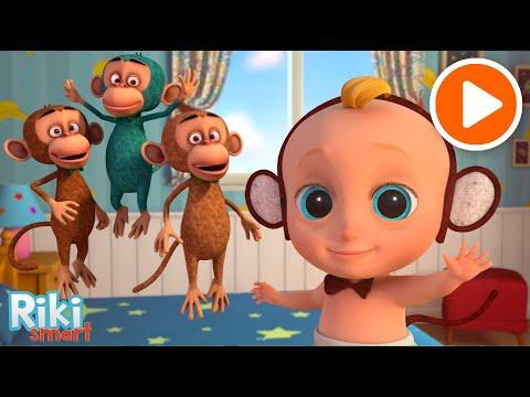 Обезьянки   Five Little Monkeys - Развивающие мультфильмы для детей - учимся считать