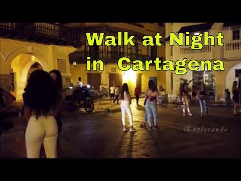 A Night Walk at Clock Tower Square Cartagena de Indias Colombia 4K