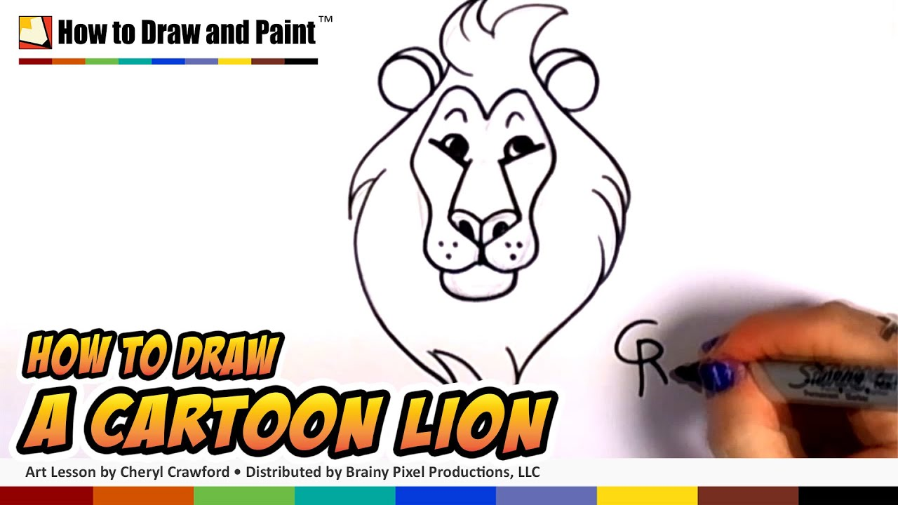 How to Draw a Cartoon Lion Step by Step - Art for Kids - Easy Cartoon Lion  Head CC
