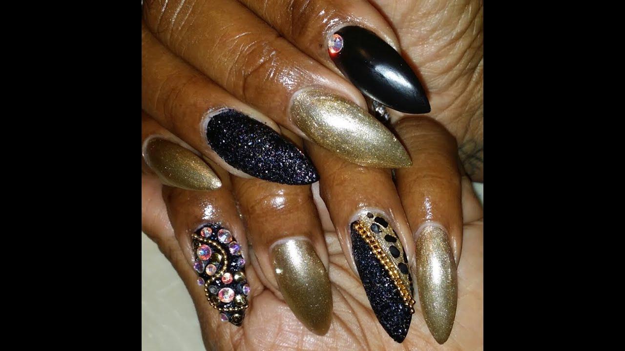 Glitter black & gold junk nail art - Glitter Black & Gold Junk Nail Art - YouTube