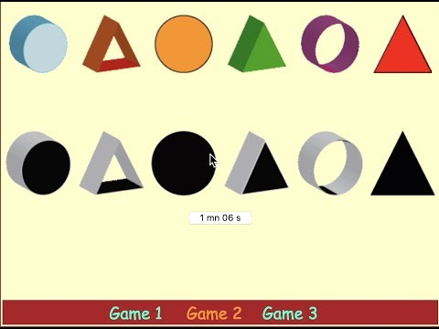 observation games for kids - observation games,3d shapes,shadows, circle triangles