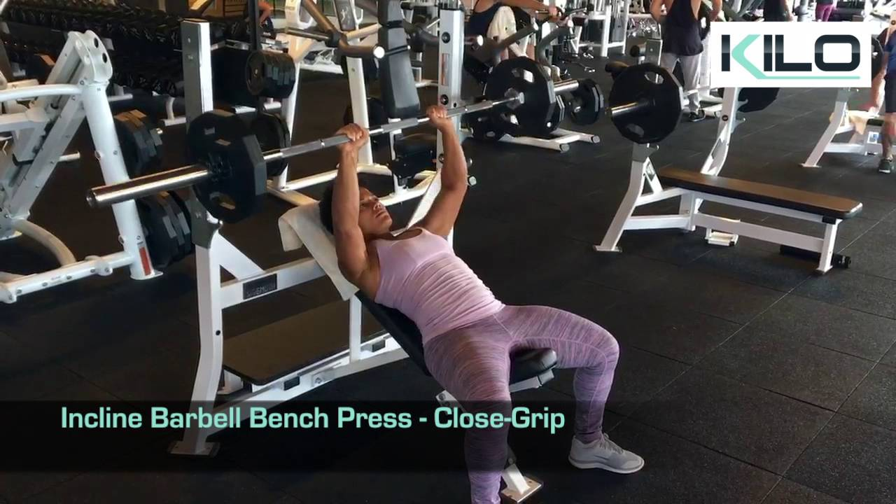 Narrow Grip Bench Presses Part - 44: Incline Barbell Bench Press - Close Grip
