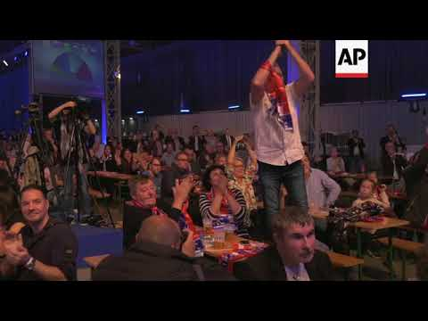 Celebrations at Austria's Freedom Party HQ after exit polls