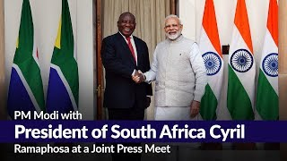 PM Modi with President of South Africa Cyril Ramaphosa at a Joint Press Meet