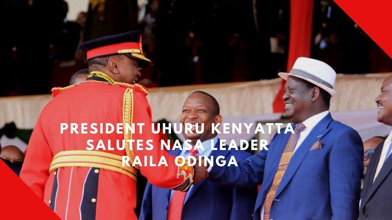 President Uhuru Kenyatta salutes NASA leader Raila Odinga
