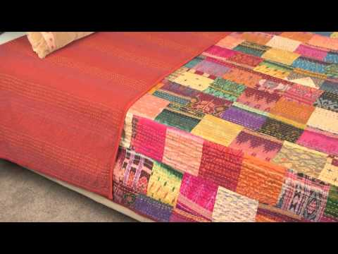 Vintage Throw Kantha Quilt Indian Handmade Cotton Bedspread Reversible