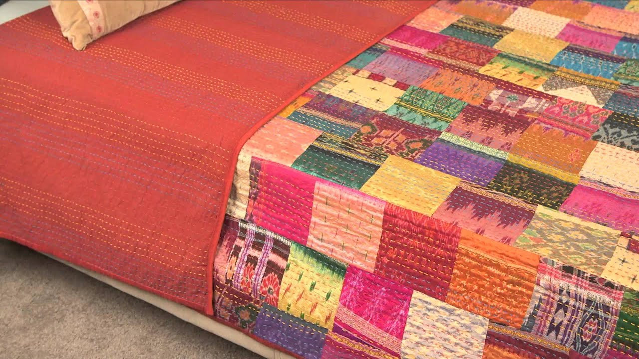 Vintage Throw Kantha Quilt Indian Handmade Cotton Bedspread ... : handmade cotton quilts - Adamdwight.com