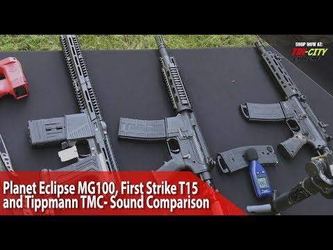 Planet Eclipse MG100 vs First Strike T15 vs Tippmann TMC- Sound Comparison