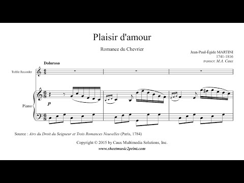 Martini : Plaisir d'amour - Treble Recorder