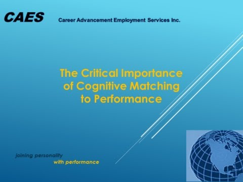 The Critical Importance of Cognitive Matching to Performance