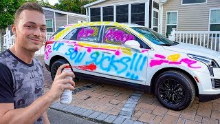 SPRAY PAINTING MY MOMS BRAND NEW CAR *PRANK*