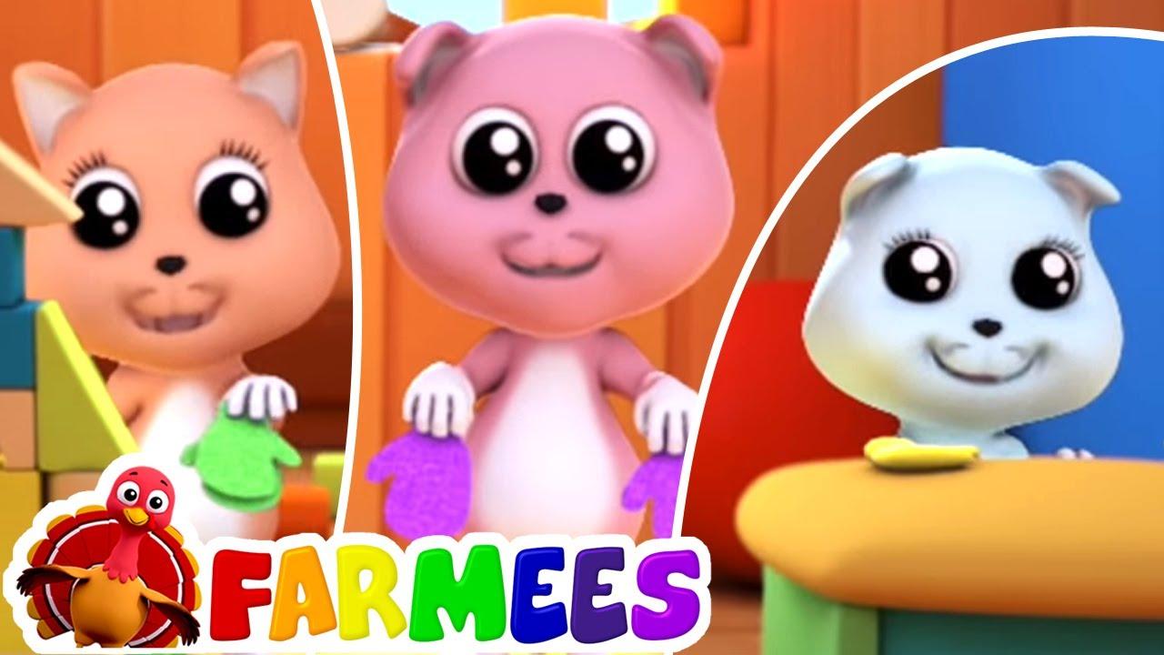 Tre piccoli gattini | Filastrocche | Canzoni per bambini | Farmee Italiano | Cartoni animati