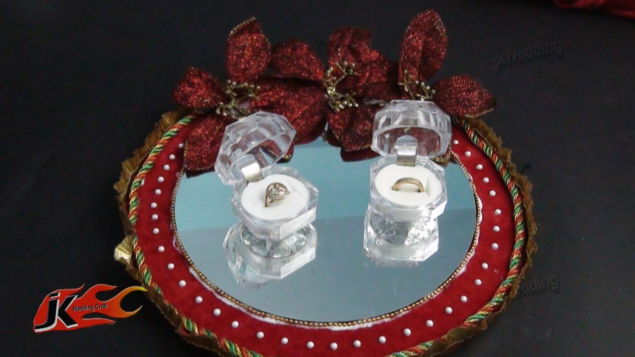 DIY Ring Platter | Decorative pooja thali | Wedding Plate Decoration | JK Wedding Craft 020 - YouTube & DIY Ring Platter | Decorative pooja thali | Wedding Plate Decoration ...