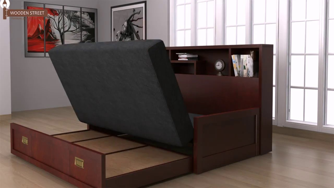 Sofa Cum Bed   Buy Wooden Sofa Cum Bed Online And Get Space Saving  Furniture For Compact Home   YouTube
