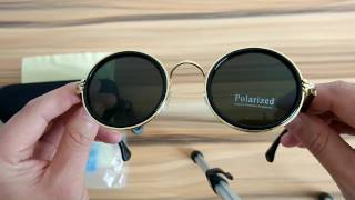 Retro Round Polarized Sunglasses Gold Circle Frame Green Lens
