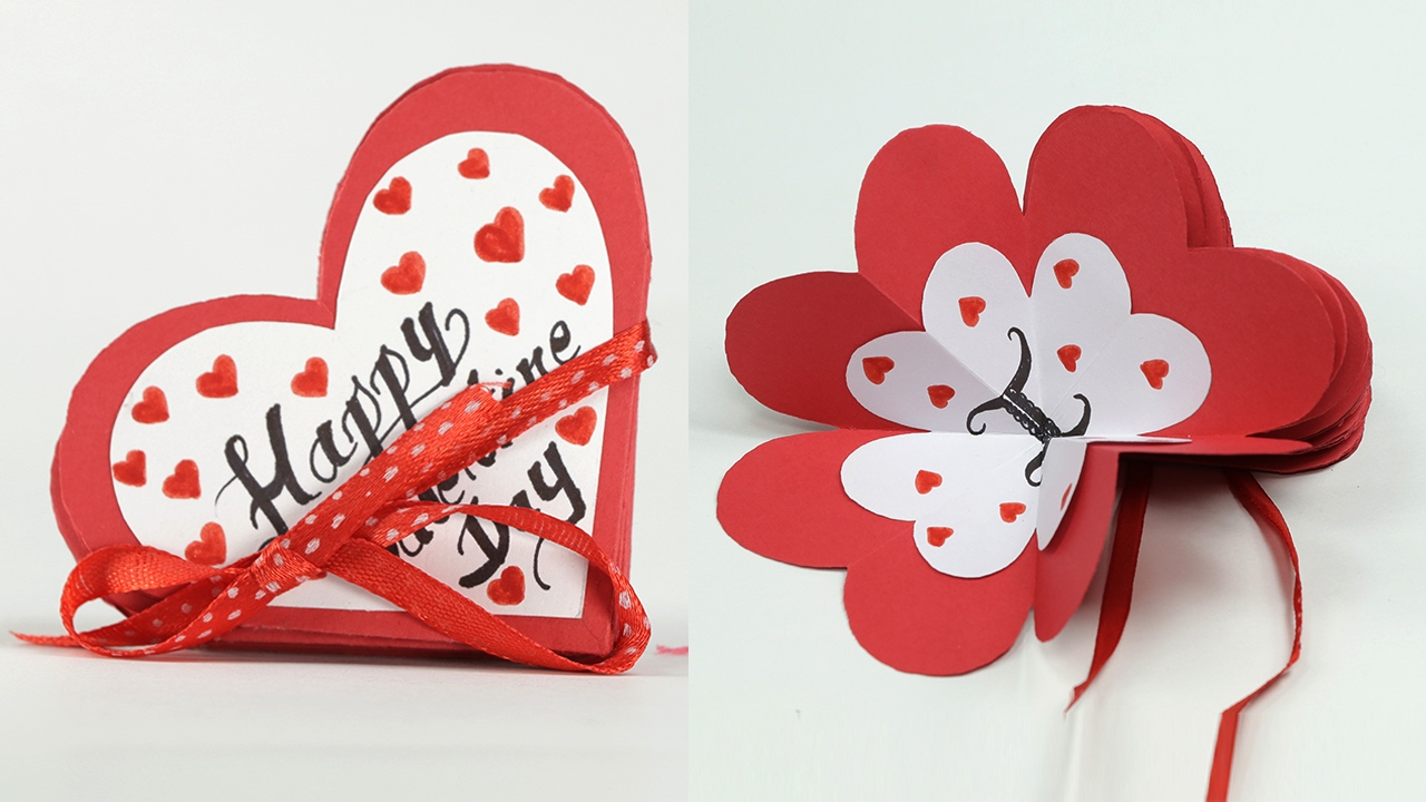 Homemade Valentine Card Diy Valentine Accordion Flip Card Youtube