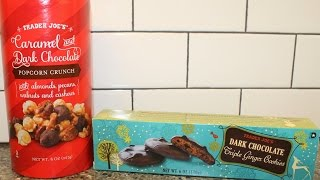 Trader Joes Caramel & Dark Chocolate Popcorn Crunch and Dark Chocolate Triple Ginger Cookies Review
