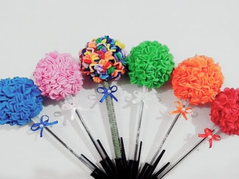 How to make pencil tip or pen with flower in Eva