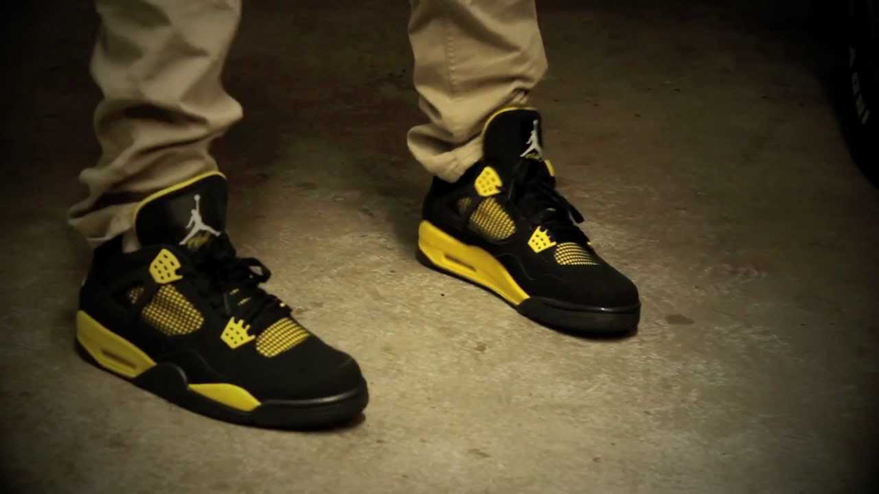 nike air jordan thunder 4 on feet idsolecreator youtube