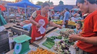 Pakse laos market  🔴 Laos food in laos street food