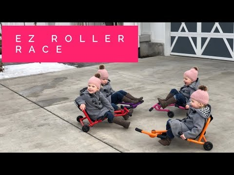 QUADRUPLETS LEARN TO RIDE EZ ROLLERS