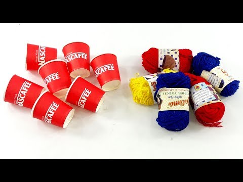 DIY craft ideas with coffee cups & woolen | How to reuse Disposable coffee cup
