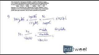 ejercicio resuelto clculo de molaridad de una disolucin con cido