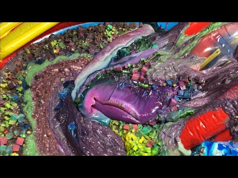 MIXING ALL OUR GIANT MIXED SLIME  IN OUR RAINBOW POOL - MAKING THE BIGGEST SLIME SMOOTHIE EVER