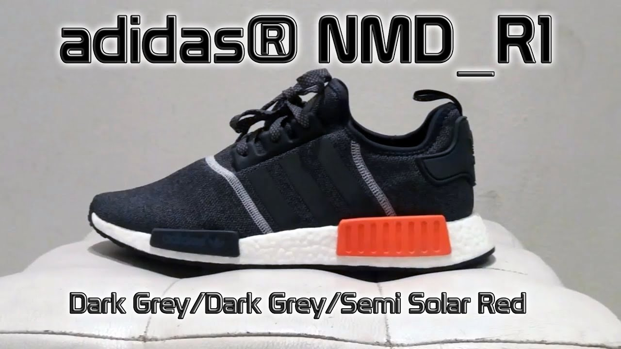 5ffa48a7b021 adidas® NMD R1 Dark Grey Dark Grey Semi Solar Red  shoe details + on feet